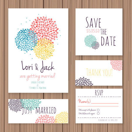 invitation card design: Wedding invitation card set. Thank you card, save the date cards, RSVP card, just married card.