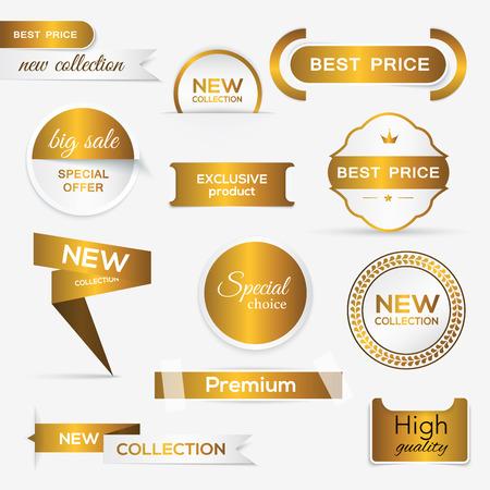sello: Colección de oro promocionales prima sellos  pegatinas. ilustración vectorial aislado