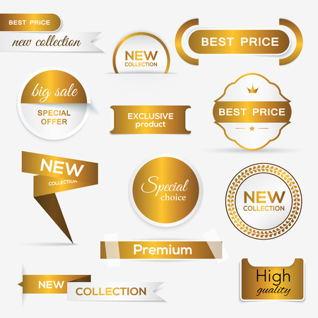 Collection of golden premium promo sealsstickers. isolated vector illustration Иллюстрация