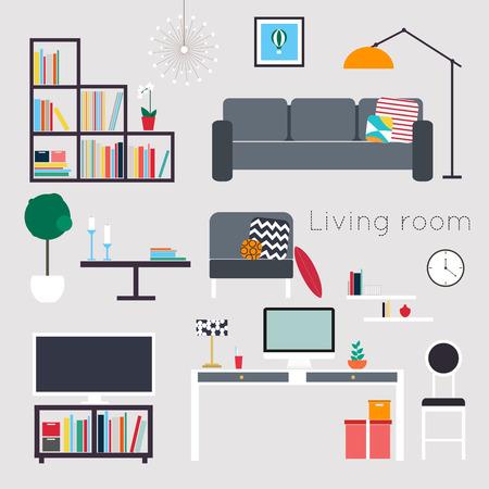 decoracion mesas: Sala de estar. Muebles y accesorios caseros, incluyendo sofás, sofá de dos plazas, sillones, mesa de café, mesitas y decoración del hogar