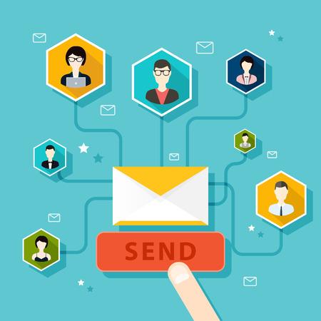 redes de mercadeo: Marceting oncept de dirigir campaña de correo electrónico, publicidad por correo electrónico, el marketing digital directa. Estilo de diseño Flat vector moderno concepto de ilustración.