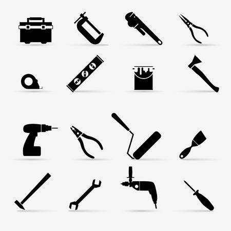 construction tools: Working tools icon set. Vector illustration.