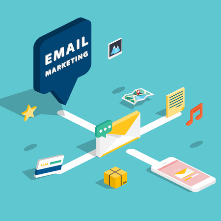 E-mail marketing concepts. Mobile marketing, email advertising, building audience, direct digital marketing. 3d isometric design style modern vector illustration concept.  イラスト・ベクター素材