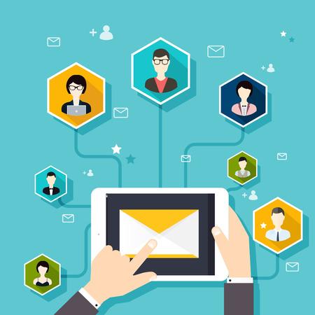 comunicarse: Marceting oncept de dirigir campaña de correo electrónico, publicidad por correo electrónico, el marketing digital directa. Estilo de diseño Flat vector moderno concepto de ilustración.