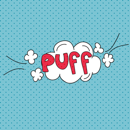 cartoon words: Puff. Comics pop art style blank layout template with clouds beams. Concept vector for web and mobile applications.