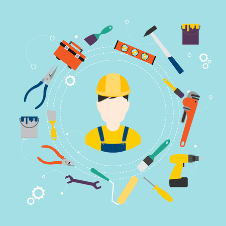 Builder and color tools for repair and home improvement. Vector illustration.