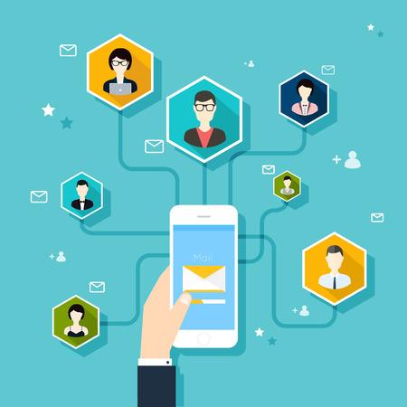 correo electronico: Marceting oncept de dirigir campaña de correo electrónico, publicidad por correo electrónico, el marketing digital directa. Estilo de diseño Flat vector moderno concepto de ilustración.