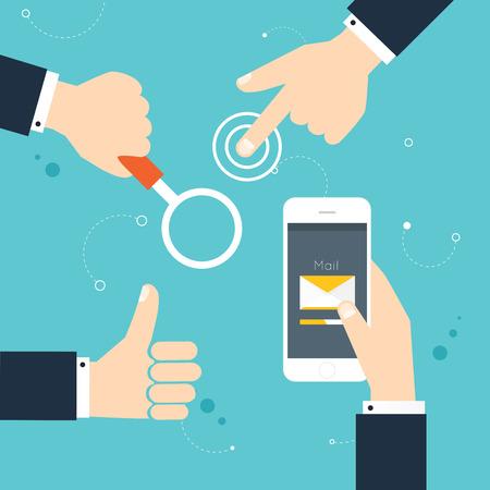 tomados de la mano: Gestos con las manos: el uso de dispositivos digitales modernas, la celebraci�n de tel�fono, golpear, sosteniendo la lupa. Ilustraci�n del vector. Vectores