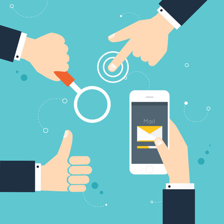 Hand gestures: using modern digital devices, holding phone, thump up, holding loupe. Vector illustration.