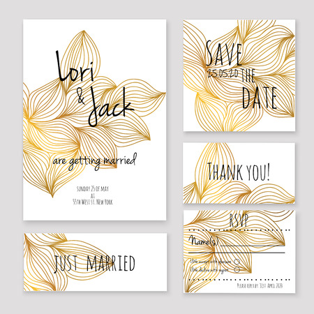 caes: Conjunto de la tarjeta de invitación de boda. Vectores