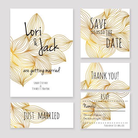 slub: zestaw Wedding Invitation card. Ilustracja