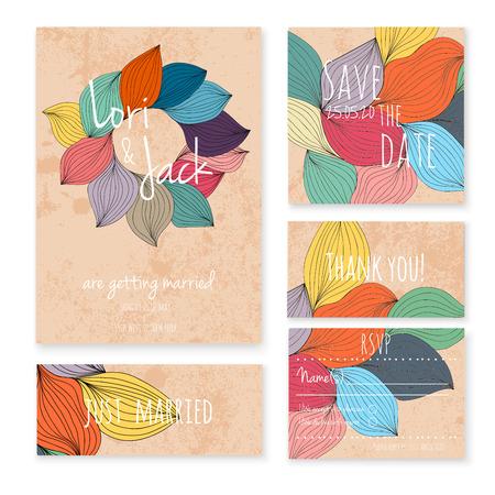 autumn flowers: Wedding invitation card set. Illustration