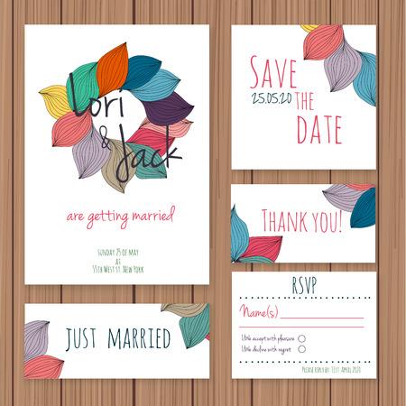 Wedding invitation card set.