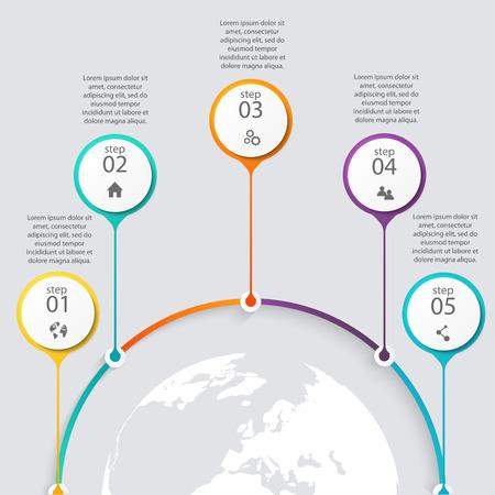 gráfico: Vetor colorido Gráficos da informação para as suas apresentações comerciais.