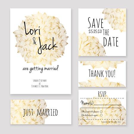결혼식 초대 카드 설정합니다. 감사 카드, 날짜 카드, RSVP 카드, 그냥 결혼 카드를 저장합니다.