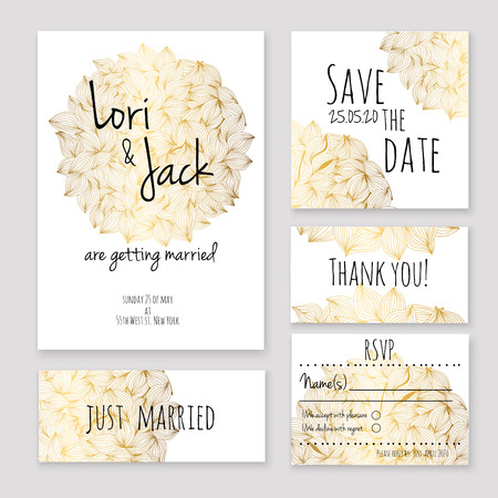 dates: Wedding invitation card set. Thank you card, save the date cards, RSVP card, just married card.