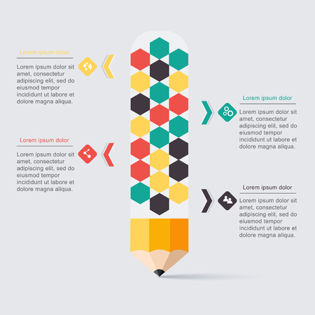 lightbulbs: Business education pencil staircase Infographics option.