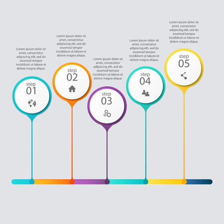 cronogramas: Vector colorido infografías para sus presentaciones. Vectores