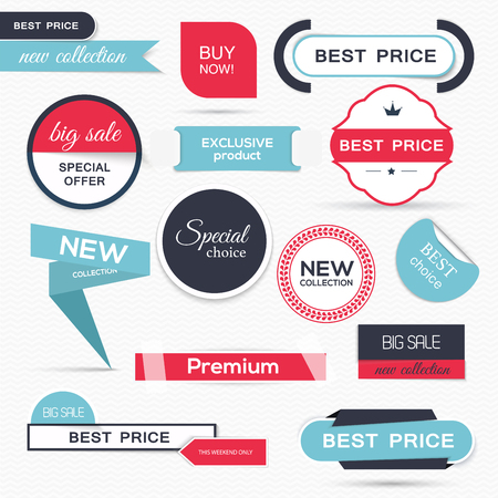 Collection of Sale Discount Styled origami Banners. Vector Illustration Illustration