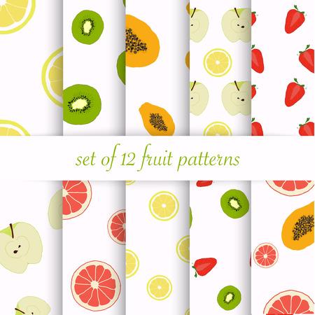 seamless patterns: Set of seamless fruit patterns