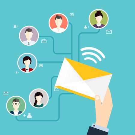 Marceting oncept prowadzenia kampanii e-mail, reklamy e-mail, marketingu bezpośredniego cyfrowego. Mieszkanie w stylu ilustracji wektorowych projektowania nowoczesnych koncepcji.
