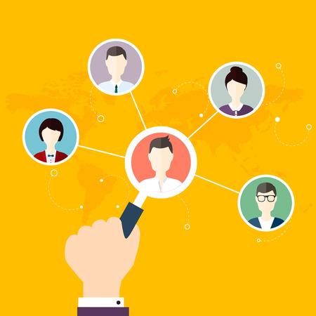 소셜 네트워크 벡터 개념입니다. 웹 사이트에 대 한 평면 디자인 일러스트레이션 부분 확대 [NULL]와 인간의 손에 Infographic 디자인입니다. 통신 시스템