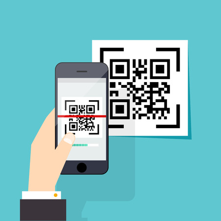 smart phone hand: Scan QR code  to Mobile Phone. Electronic scan, digital technology, barcode. Vector illustration.