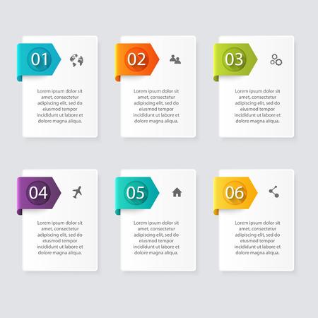 Vector colorido infografías para sus presentaciones. Puede ser utilizado para información de gráficos, gráfico o sitio web de diseño vectorial, carteles numerados, diagrama, líneas de corte horizontal, diseño de páginas web. Foto de archivo - 44490425