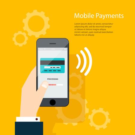 tarjeta de credito: Los pagos m�viles. Hombre que sostiene el tel�fono. Ilustraci�n vectorial de smartphone moderno con el procesamiento de los pagos m�viles de tarjeta de cr�dito en la pantalla.