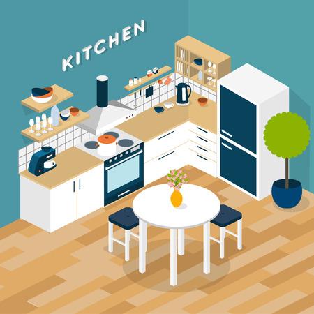 nevera: Vector cocina isométrica interior - ilustración 3D