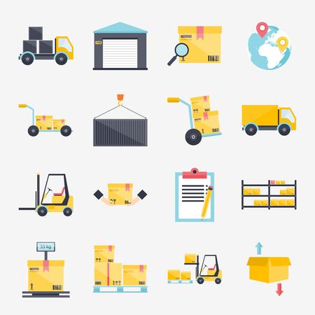 carretillas almacen: Conjunto de iconos de almacén planas logística y transporte en blanco, ilustración vectorial de almacenamiento.