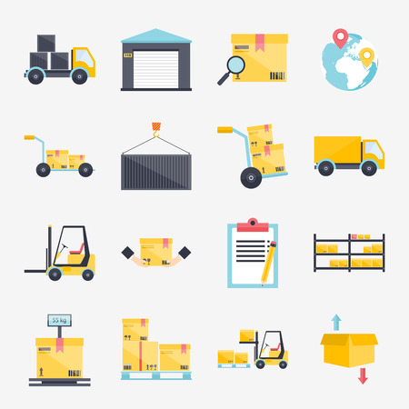 supplies: Set of flat warehouse icons logistic blank and transportation, storage vector illustration.