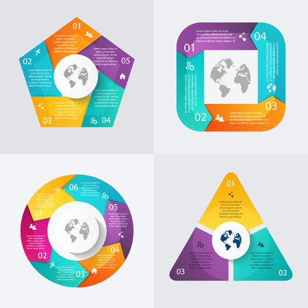 sections: Set of vector infographics design template for your business presentations.Can be used for info graphics, graphic or website layout vector, numbered banners, diagram,  web design.