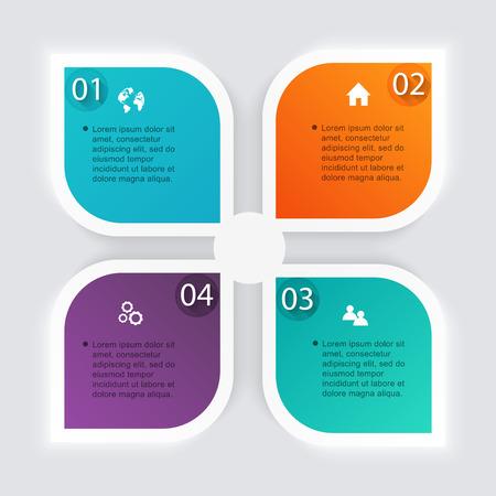 cuatro elementos: Vector colorido infografías para sus presentaciones. Puede ser utilizado para información de gráficos, gráfico o sitio web de diseño vectorial, carteles numerados, diagrama, líneas de corte horizontal, diseño de páginas web. Vectores