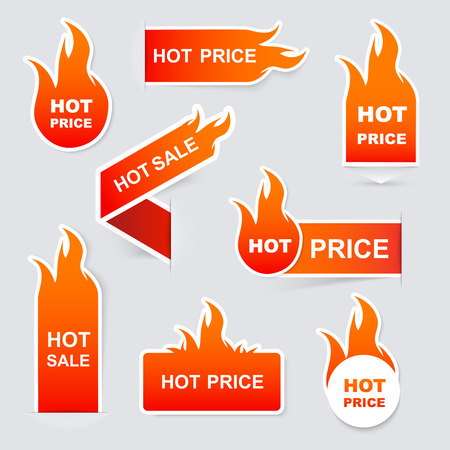 Collection of hot sale and hot price promo sealsstickers.Isolated vector illustration