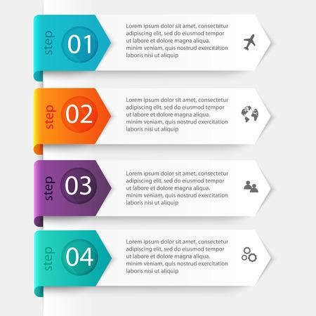 Vector kleurrijke info graphics voor uw zakelijke presentaties. Kan gebruikt worden voor info graphics, grafisch of website lay-out vector, genummerd banners, diagram, horizontale uitsparing lijnen, webdesign. Stock Illustratie