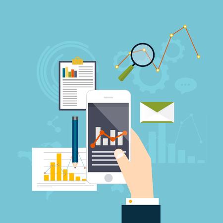 statistic: Web analytics information and development website statistic. Flat icons. Vector illustration. Illustration