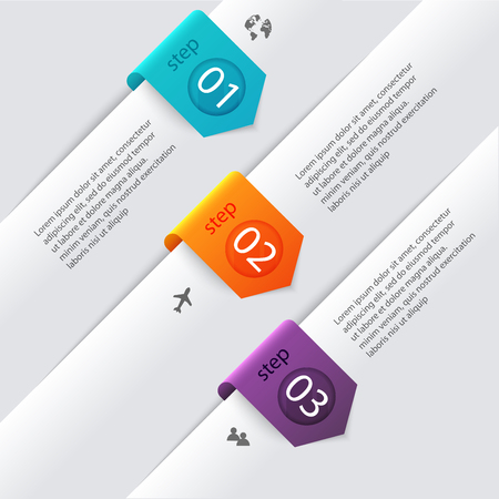 sections: Vector colorful info graphics for your business presentations. Can be used for info graphics, graphic or website layout vector, numbered banners, diagram, horizontal cutout lines, web design.