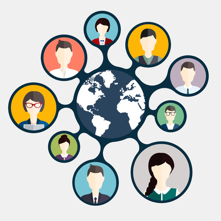 global networking: Social Networking and Social Media avatar  Concept.