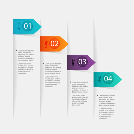 NUMBERS: Vector colorful info graphics for your business presentations. Can be used for info graphics, graphic or website layout vector, numbered banners, diagram, horizontal cutout lines, web design.