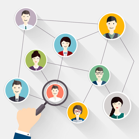 Social Network search and Social Media avatar Concept to find person. Business flat vector illustration. Vettoriali