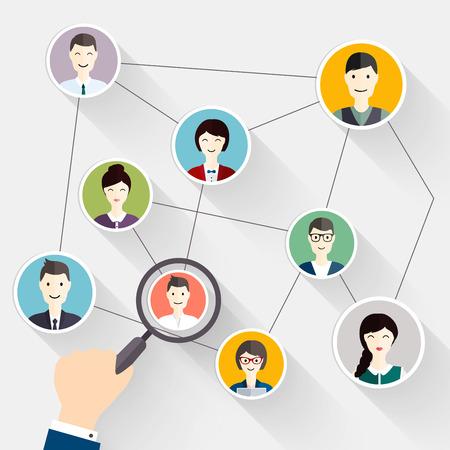 zvětšovací sklo: Social Network vyhledávání a sociální média avatar Koncepce najít osobu. Obchodní byt vektorové ilustrace.