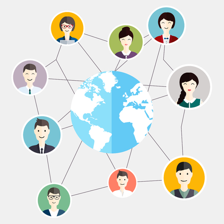 global communication: Social Media Circles global people communication. Business flat vector illustration.
