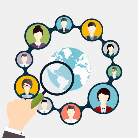소셜 네트워킹 및 소셜 미디어 아바타 개념입니다.