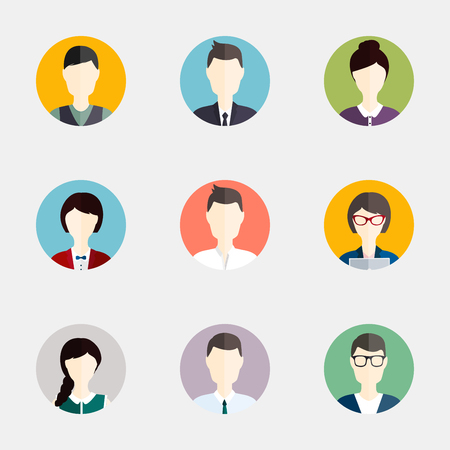 head icon: People icons. People Flat icons collection Illustration