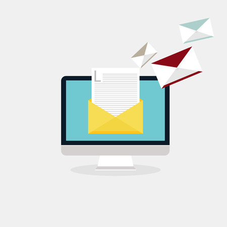 direct: Sending emails and receiving mail. Email advertising, direct digital marketing. Flat design style modern vector illustration concept.