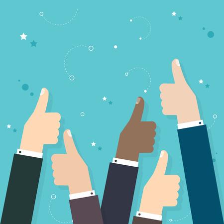 많은 엄지 손가락을 들고 비즈니스 사람들이 엄지 손가락. 비즈니스 평면 벡터 일러스트 레이 션입니다.