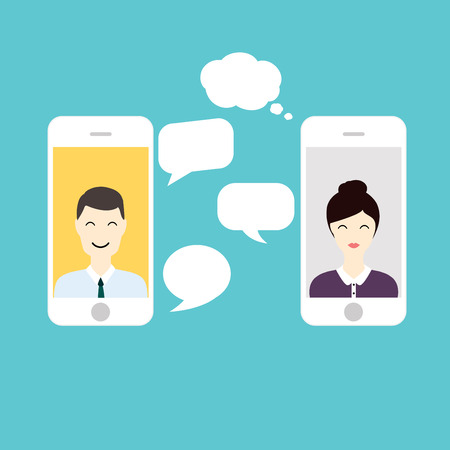 Men and Woman online chat. Social Network and Social Media Concept. Business flat vector illustration.