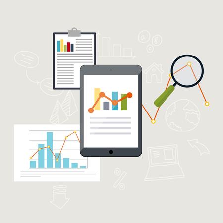 analyze data: Set of web analytics information and development website statistic. Flat icons. Vector illustration.