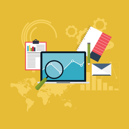 emarketing: Set of web analytics information and development website statistic. Flat icons. Vector illustration.